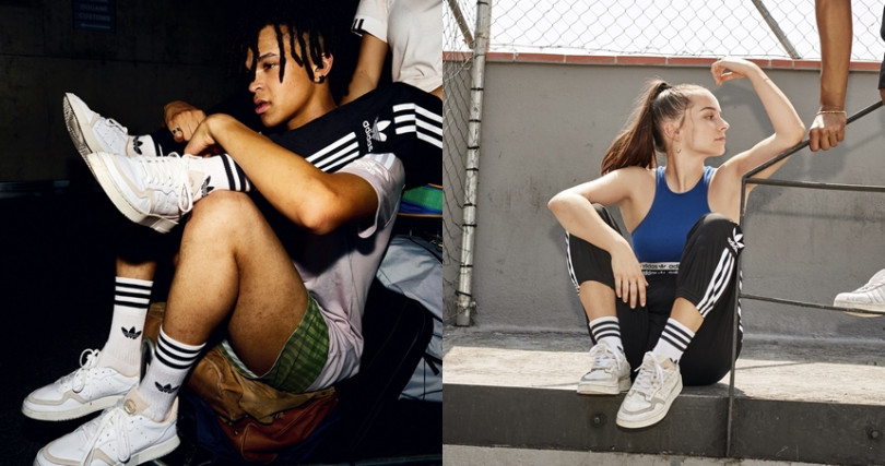 Supercourt鞋款共有三款配色包括基本金色Logo,和米色、玫粉色兩色麂皮拼接鞋舌。(圖/adidas Originals提供)
