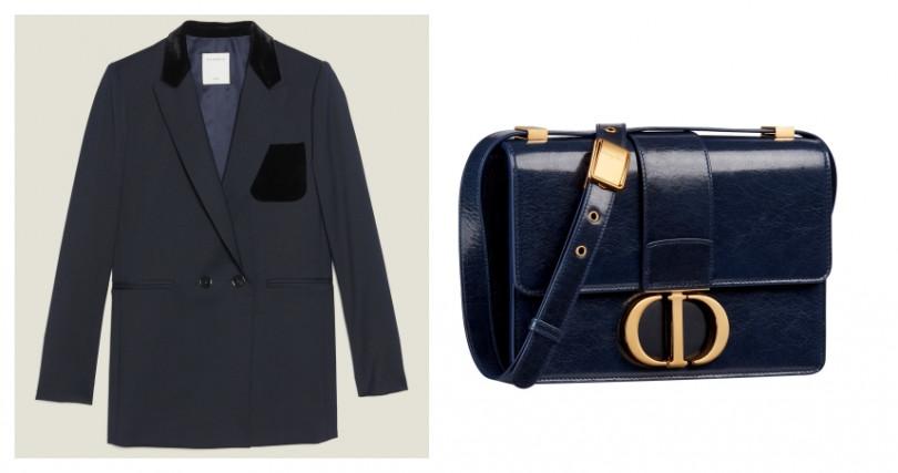 SANDRO黑色天鵝絨口袋式西裝外套/13,680元;DIOR 30 Montaigne靛藍裂紋小羊皮翻蓋包/110,000元(圖/品牌提供)