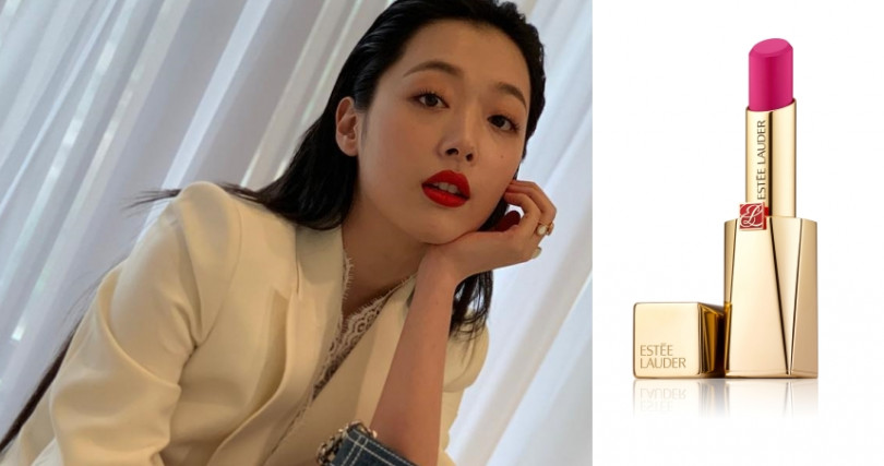 在德魯納酒店中客串出演的雪莉,換上了甜美的桃紅色#213。ESTEE LAUDER奢華慾望訂製唇膏(#213)/1,500元 (圖/品牌提供、IG)