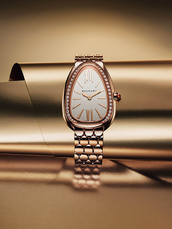 Serpenti Seduttori鑽錶/玫瑰金材質,錶徑33mm/石英機芯/防水30米/定價:845,000元(圖/寶格麗提供)