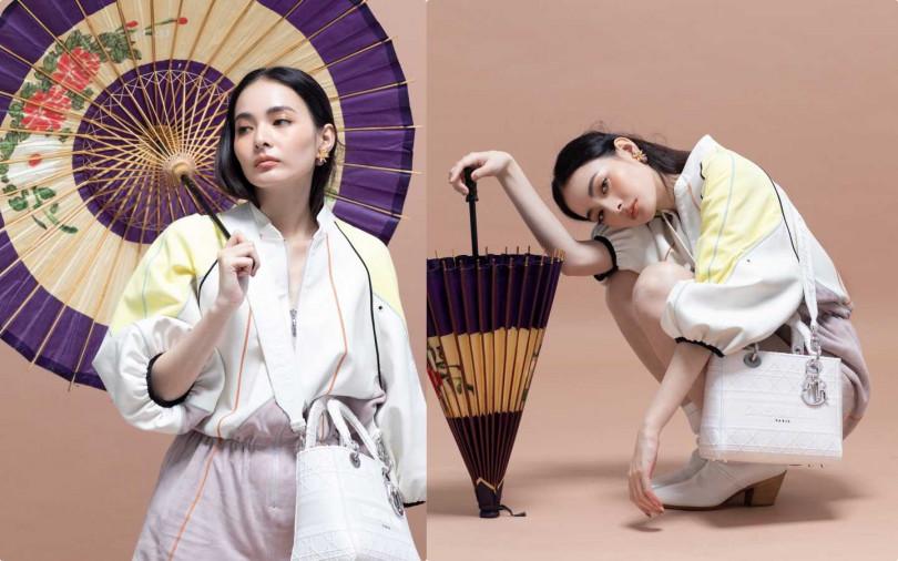 Longchamp春夏服裝系列拼接式黃色皮革連身裙/85,400元;CELINE白色小牛皮踝靴/16,300元;DIOR Lady D-Lite白色籐格紋刺繡帆布中型提包/140,000元(圖/莊立人攝)