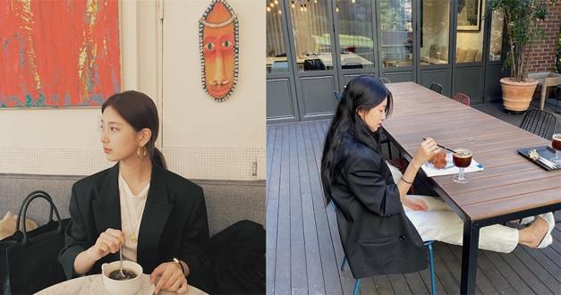 男孩感的黑色西裝配上全白內搭,給人一種不世故的都會感。(圖/skuukzky IG)