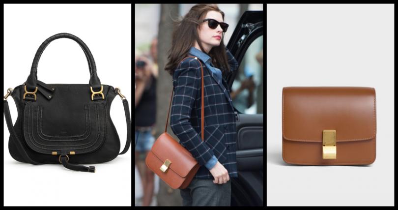 安海瑟薇喜愛背的包款(左)CELINE SMALL CLASSIC駝色頂級小牛皮肩背包/105,000元;(右)Chloé Marcie黑色肩背手提包/66,700元