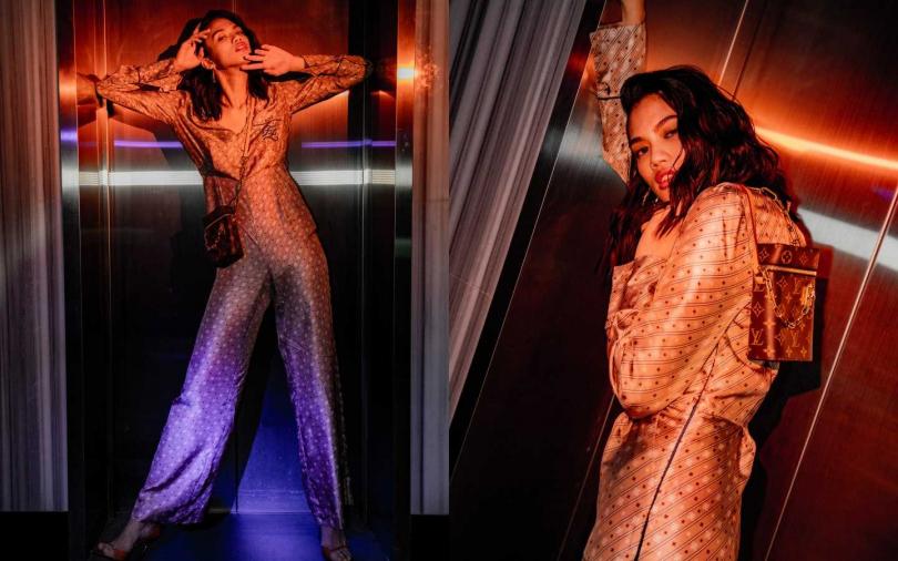 FENDI Karligraphy Logo Jumpsuit 連身褲/價格未定;Louis Vuitton、PHONE BOX 包/51,500元。(攝影/莊立人)