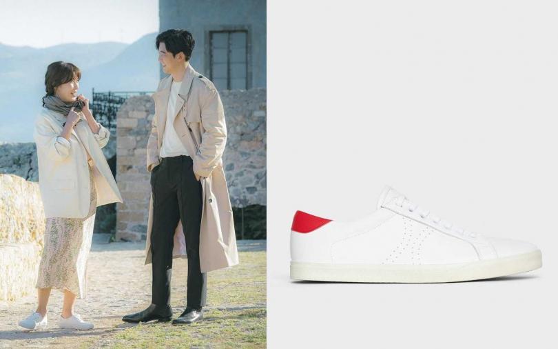 CELINE TRIOMPHE白紅拼色小牛皮休閒鞋/19,500元。(圖/翻攝自網路、品牌提供)