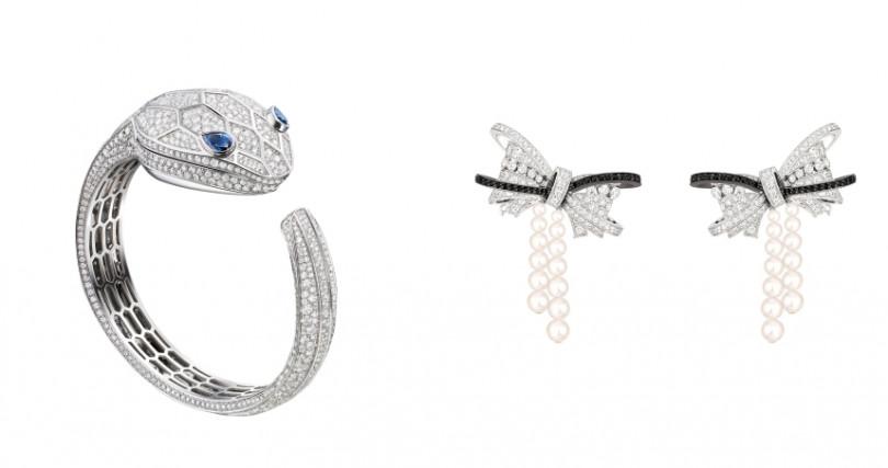 BVLGARI SERPENT MISTERIOSI頂級白K金鑽石腕錶/4,437,000元,CHANEL高級珠寶Ruban耳環。(圖/品牌提供)