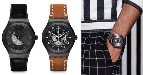 Swatch機械錶51號星球金屬元素腕錶系列的全新錶款「黑暗騎士」、「大思想家」、「優游天際」三款新錶。(圖/SWATCH)