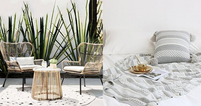 特殊造型的桌椅、極簡圖騰布飾,都能輕鬆打造度假感。(圖/InIn home Facebook)