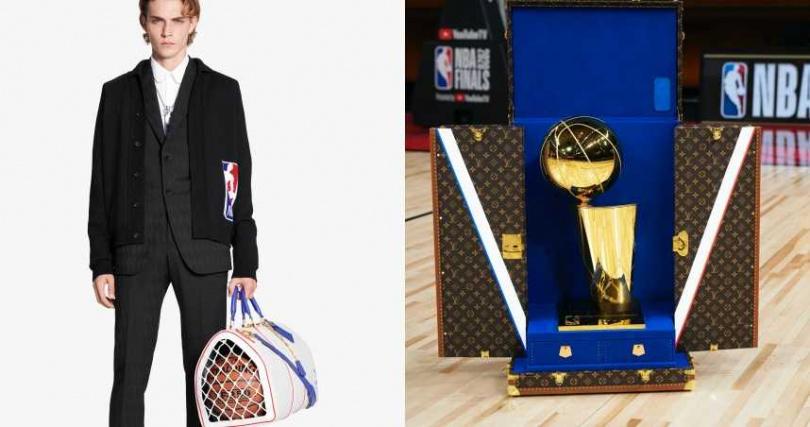 將經典結合NBA標誌色彩與元素,打造出嶄新的膠囊系列;本次冠軍賽獎盃也由LV打造專屬獎盃旅行箱。(圖/品牌提供)