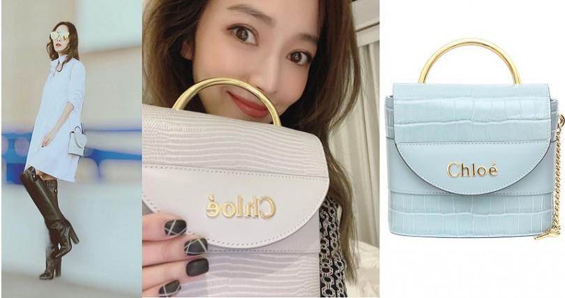 這個Chloe的淺藍色小包包,讓侯佩岑愛到還和它拍下甜蜜自拍照>///<。(圖/翻攝侯佩岑IG、品牌提供)