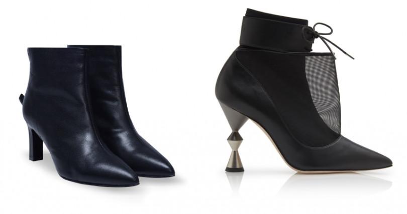 左:REATHER石墨黑真皮短靴/4,980元;右:Manolo Blahnik LACUS黑色中統高跟靴/ˋ42,800元(圖/品牌提供)