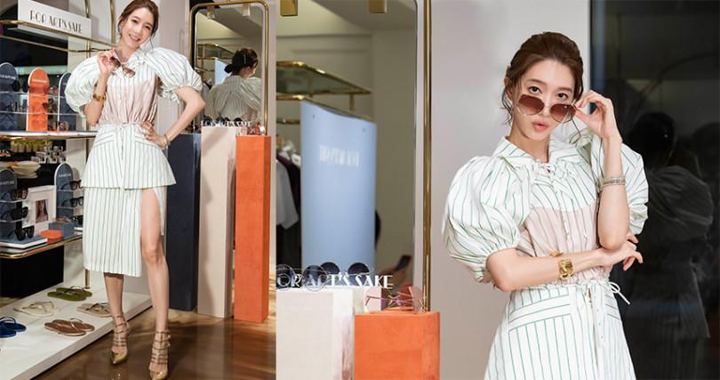 Seivson 2020春夏最新款:條紋裙裝以大膽的立體剪裁搭配可拆泡泡袖,時髦風格超適合年末跑趴。(圖/品牌提供)