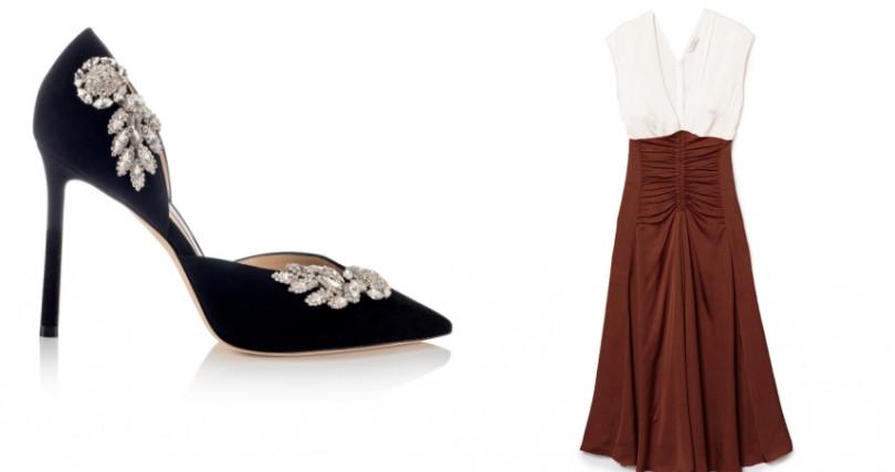 JIMMY CHOO SUEDE W黑色細跟鑽石高跟鞋/價格未定;Sandro拼色抓皺長洋裝/13,220元。(圖/品牌提供)