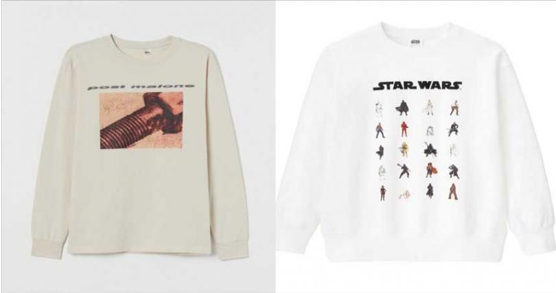 左:H&M Post Malone 同名系列上衣/699元 ;右:為紀念星際大戰最終章,GU推出STAR WARS聯名系列,以經典場景與人氣角色為主題,滿足星戰迷的時尚穿搭。(圖/品牌提供)