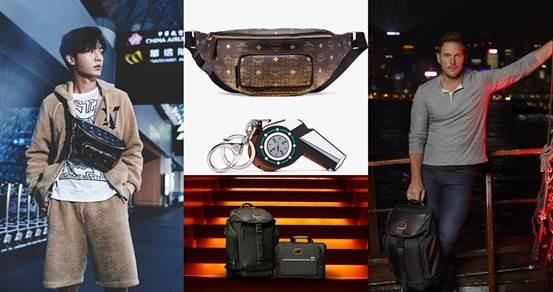 炎亞綸以MCM新色腰包搭出冬季休閒的機場時尚;星爵Chris Pratt則選擇功能&俐落外型兼具的休閒包款。(圖/MCM、TUMI)