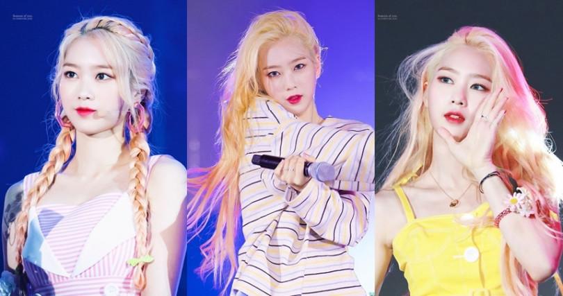 祉呼金色長髮的尾端是夢幻的粉色調,可愛又浪漫令不少女生都羨慕。(圖/翻攝自推特@Seasons_of_JIHO、Bleu_Clair_Jiho)