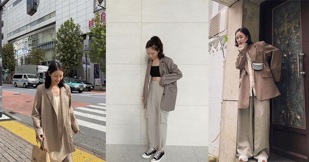 同色不同深淺的內搭、外套、長褲三種單品,讓時髦感跟層次都更加分。(圖/aaron77926 IG,manjumilin IG,egg204 IG)