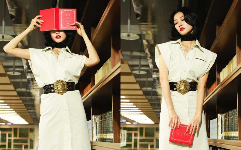 BOTTEGA VENETA Dress 洋裝/約43,890元;GUCCI Leather Choker 頸鍊/13,500元、Leather Belt with Lion Head Buckle 腰帶/約33,070元(圖/戴世平攝)