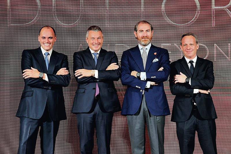 寶格麗腕錶事業部董事總經理Antoine Pin、全球總裁Jean Christophe Babin、腕錶設計高級總監Fabrizio Buonamassa與大中華區董事總經理Kolia Neveux(左起)。(圖/寶格麗提供)