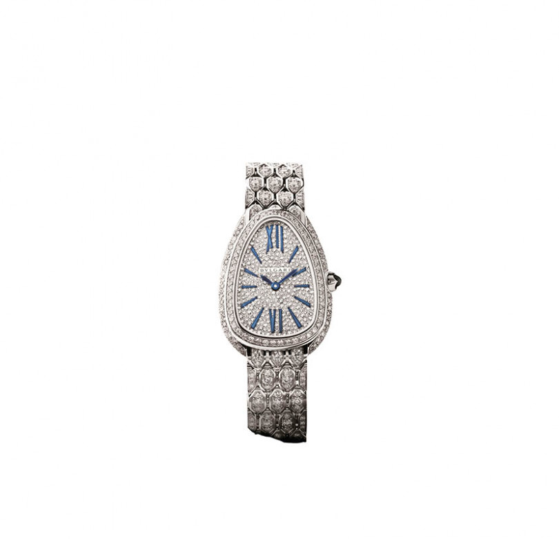 Serpenti Seduttori全鑽款/18K白金材質,錶徑33mm/石英機芯/防水30米/定價:3,446,000元(圖/寶格麗提供)