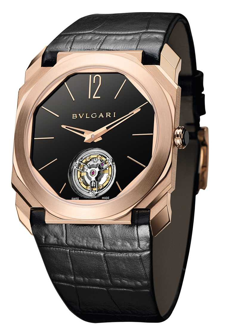 BVLGARI「OCTO FINISSIMO TOURBILLON」超薄陀飛輪腕錶╱3,820,000元。(圖╱BVLGARI提供)