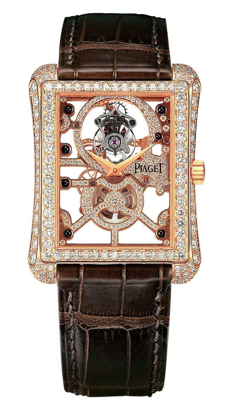 PIAGET「Black Tie Emperador」超薄鏤空飛行陀飛輪頂級珠寶腕錶╱8,050,000元。(圖╱PIAGET提供)