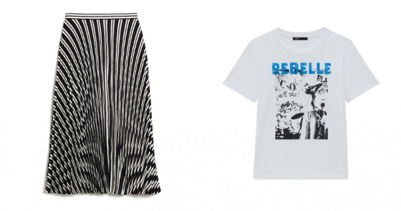 Club Monaco Annina Skirt百褶流線長裙/8,900元;Maje BEBELLE白色上衣/3,480元。(圖/品牌提供)