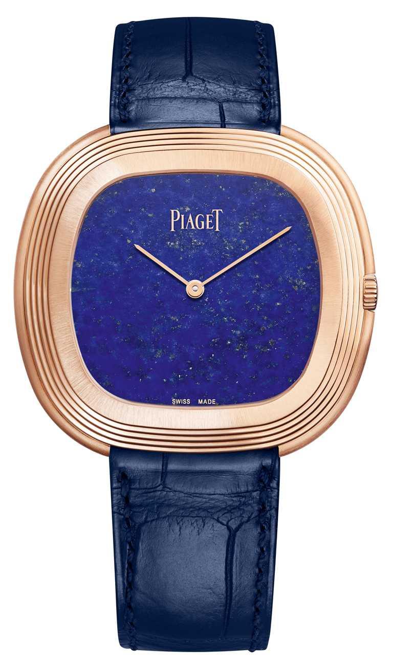 PIAGET「Black Tie Vintage」18K玫瑰金青金石錶盤自動腕錶╱1,090,000元。(圖╱PIAGET提供)