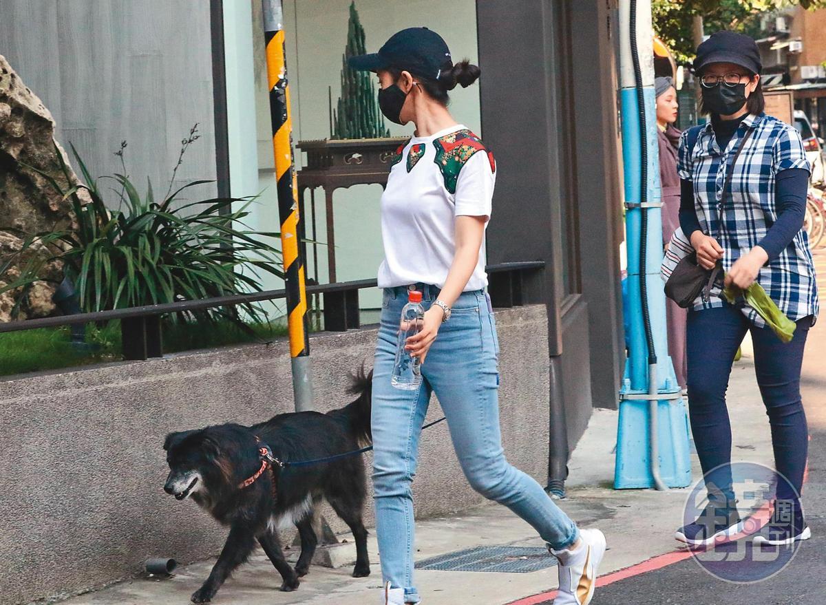 4月16日15:44,牽著狗狗出門散步,林依晨暫停演戲的日子,即使遇到疫情也過得充實。