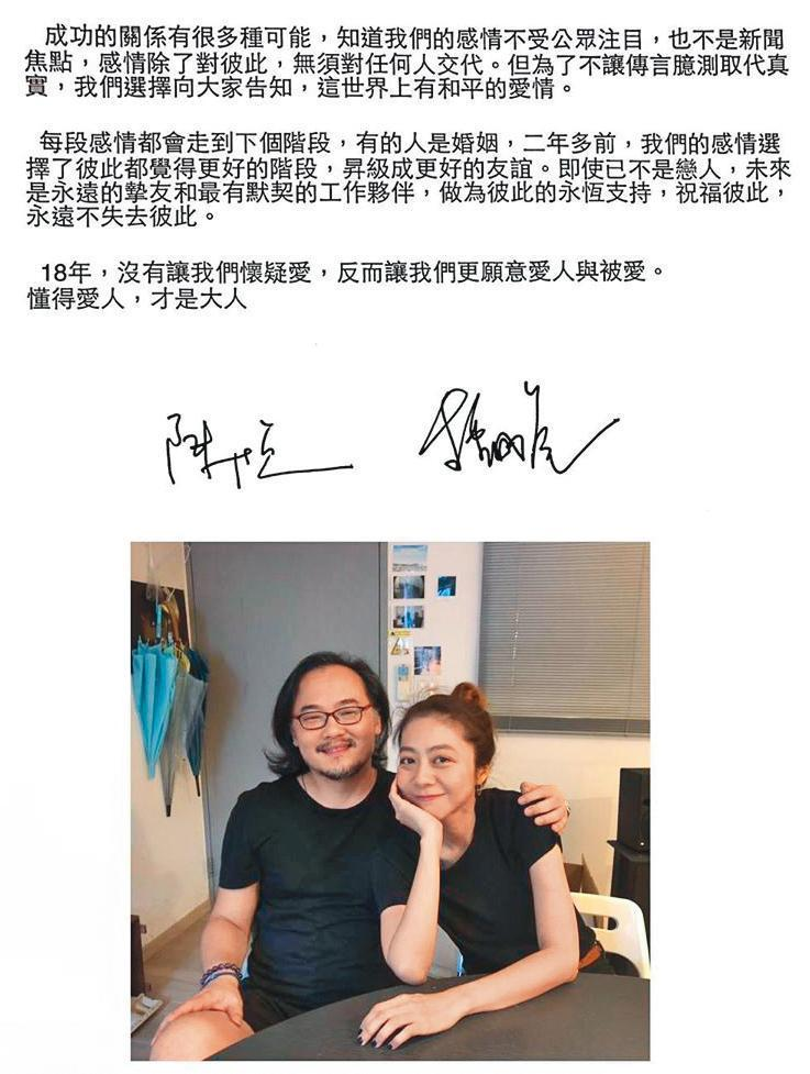 去年5月,陳綺貞(右)才公布與交往十六年的音樂人男友鍾成虎(左)已分手2年。(翻攝自陳綺貞IG)