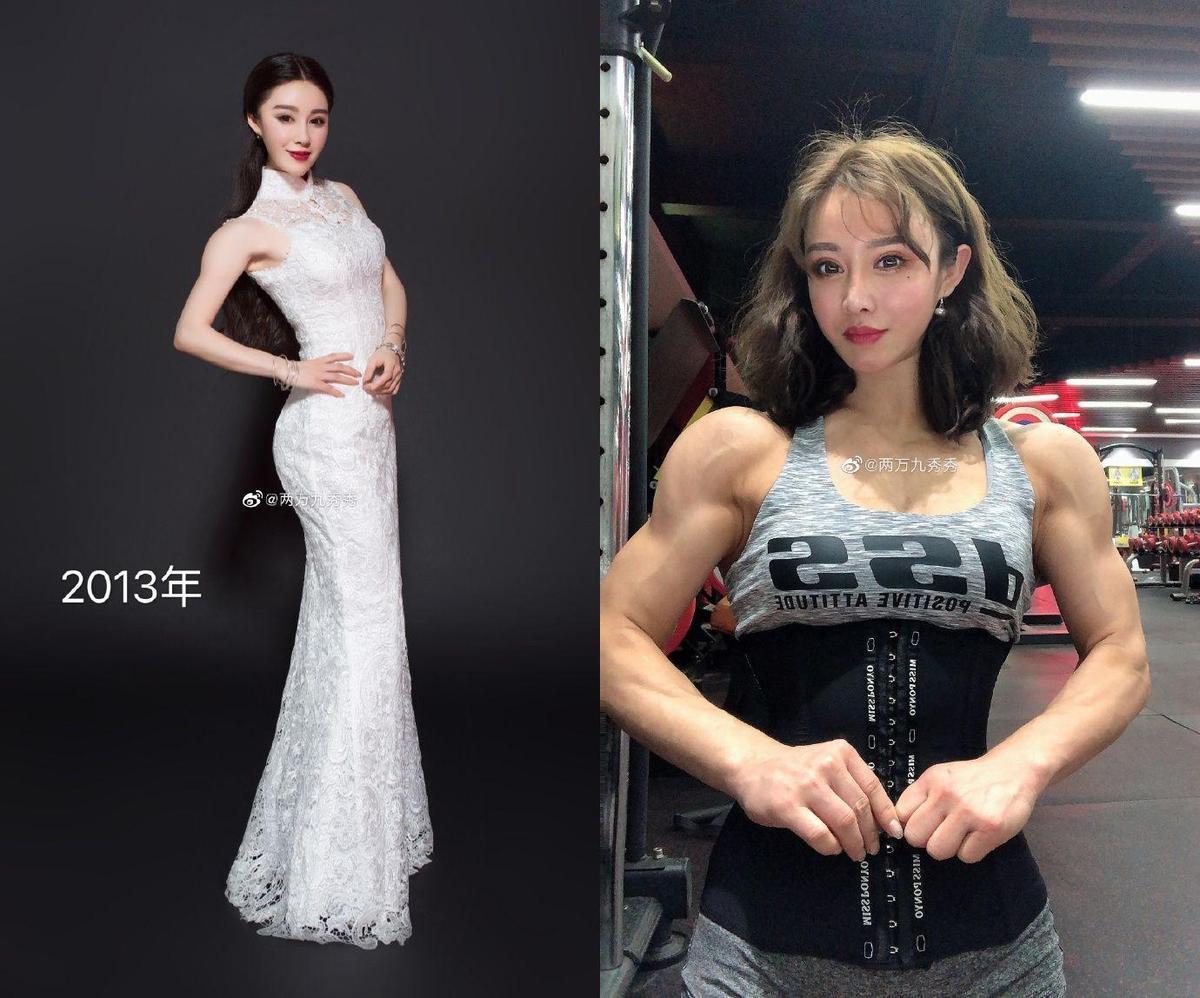 袁合榮原先身材纖細,近年愛上健身後練出一身健美肌肉。(翻攝自「两万九秀秀」微博)