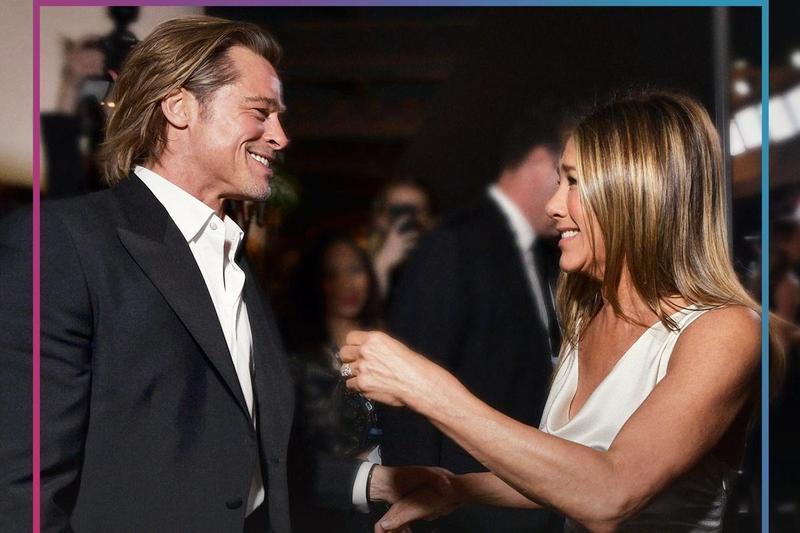 布萊德彼特與前妻珍妮佛安妮絲頓久違了的世紀同框,兩人雙雙獲演員公會獎,在後台開心互道恭喜。(SAG Awards twitter)