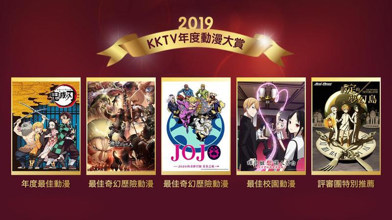 KKTV 官方舉辦年度動漫大賞,《鬼滅之刃》不但在平台上獲得 5 星好評,也獲得評審一致好評,獲頒年度最佳動漫。(KKTV 提供)