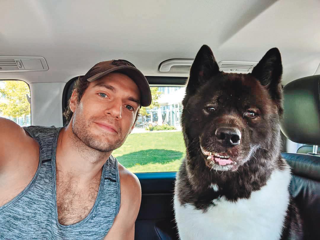 亨利卡維爾跟他的愛犬「卡爾」形影不離,宣傳、拍戲都有狗狗監督。(翻攝自亨利卡維爾IG)