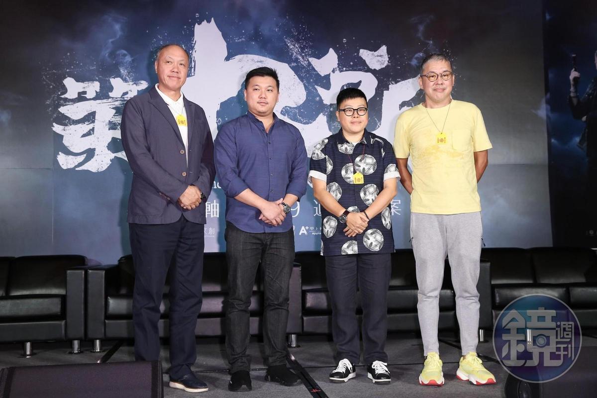 導演王鼎霖(左2)獲得王鈞(左起)、葉如芬與陳鴻元力挺,完成生平第一部執導電影《第九分局》。(本刊資料照片)