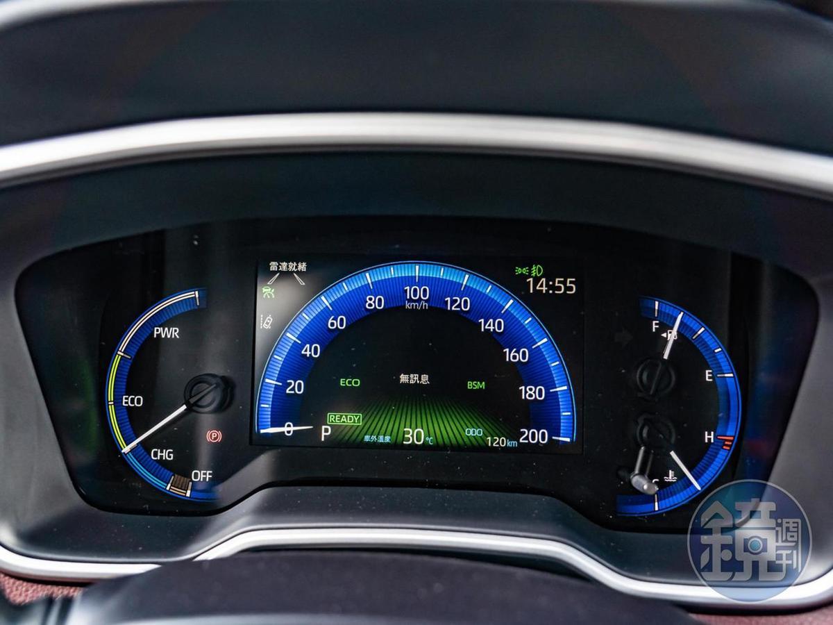 主儀表為左右類比指針搭配7吋MID數位式儀錶板。