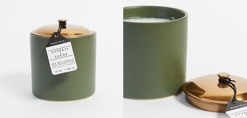Paddywax - HYGGE Cypress & Suede Ceramic Candle in Green
