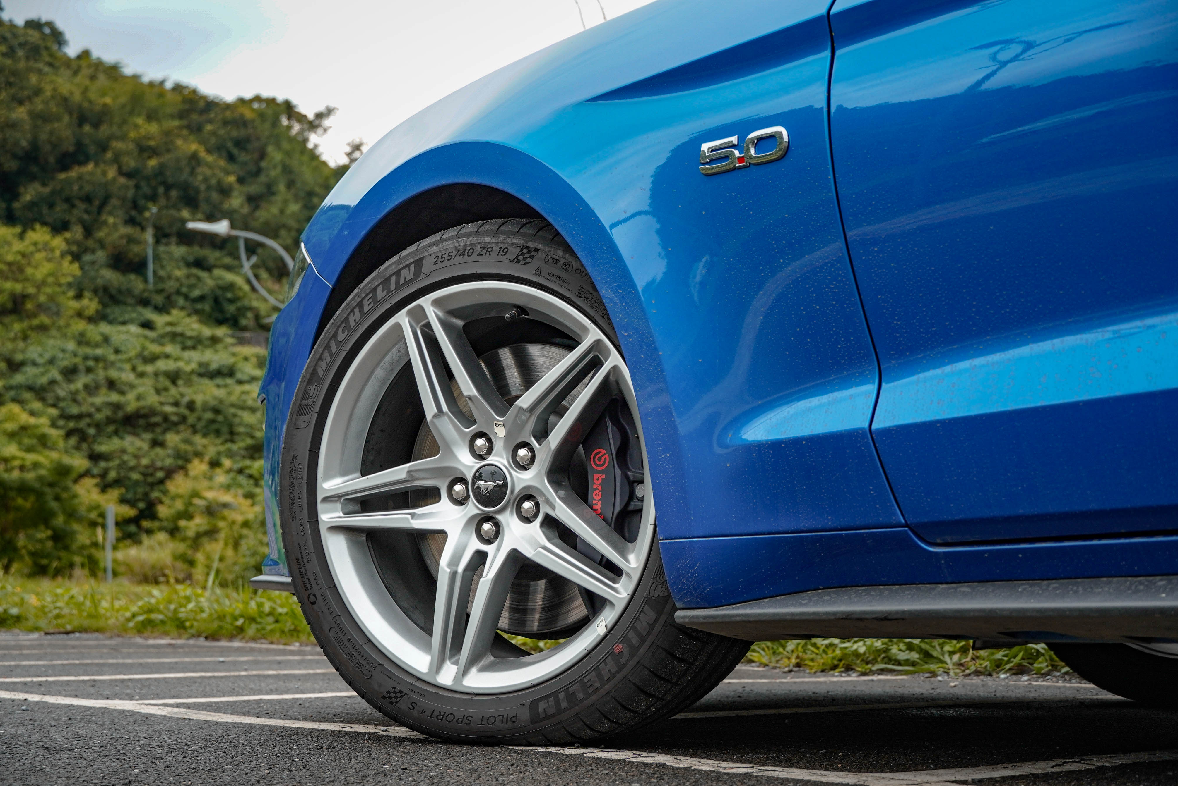GT Premium 標配 19 吋輪圈及 Brembo 六活塞卡鉗。葉子板上有 5.0 徽章,表示買家是個勇者(稅金的部分)。