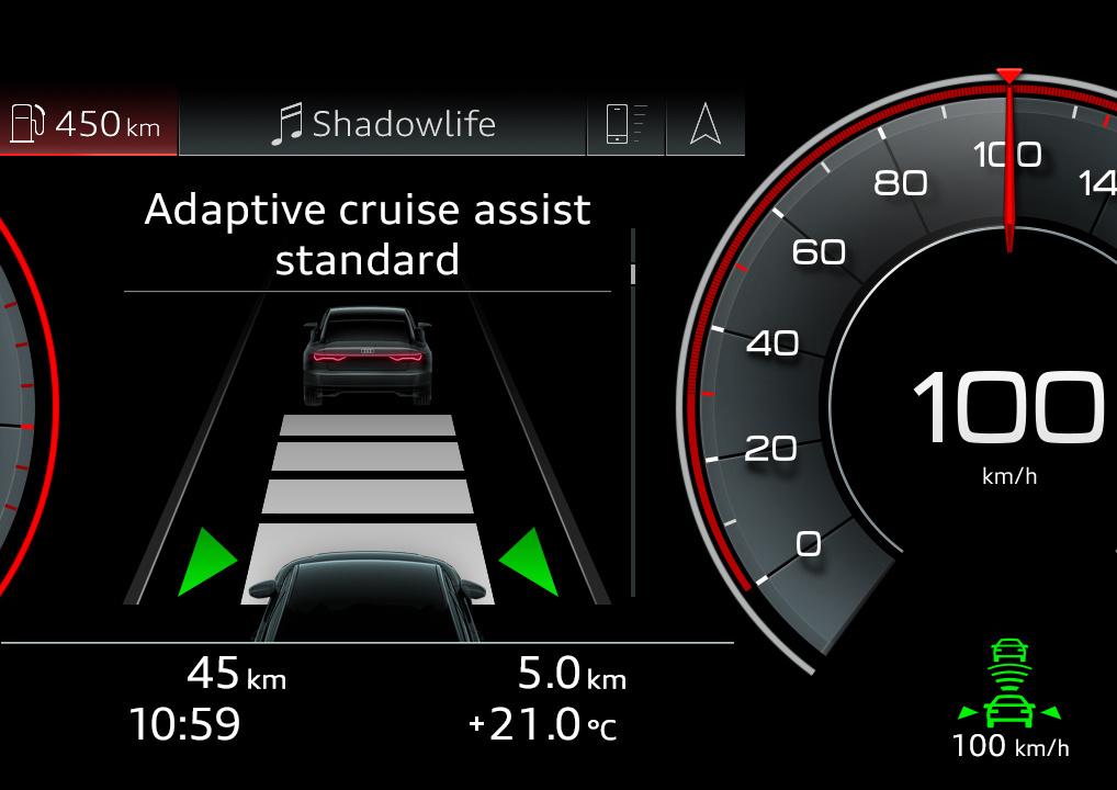 Adaptive Cruise Assist ACC 主動式定速巡航控制系統。