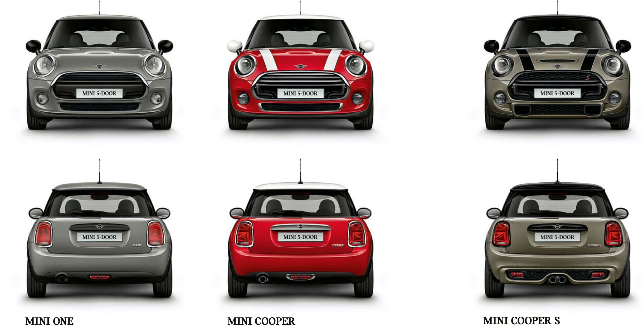 MINI 5-Door 以三車型販售:118 萬的 MINI One、145 萬的 MINI Cooper、169 萬的 MINI Coper S。
