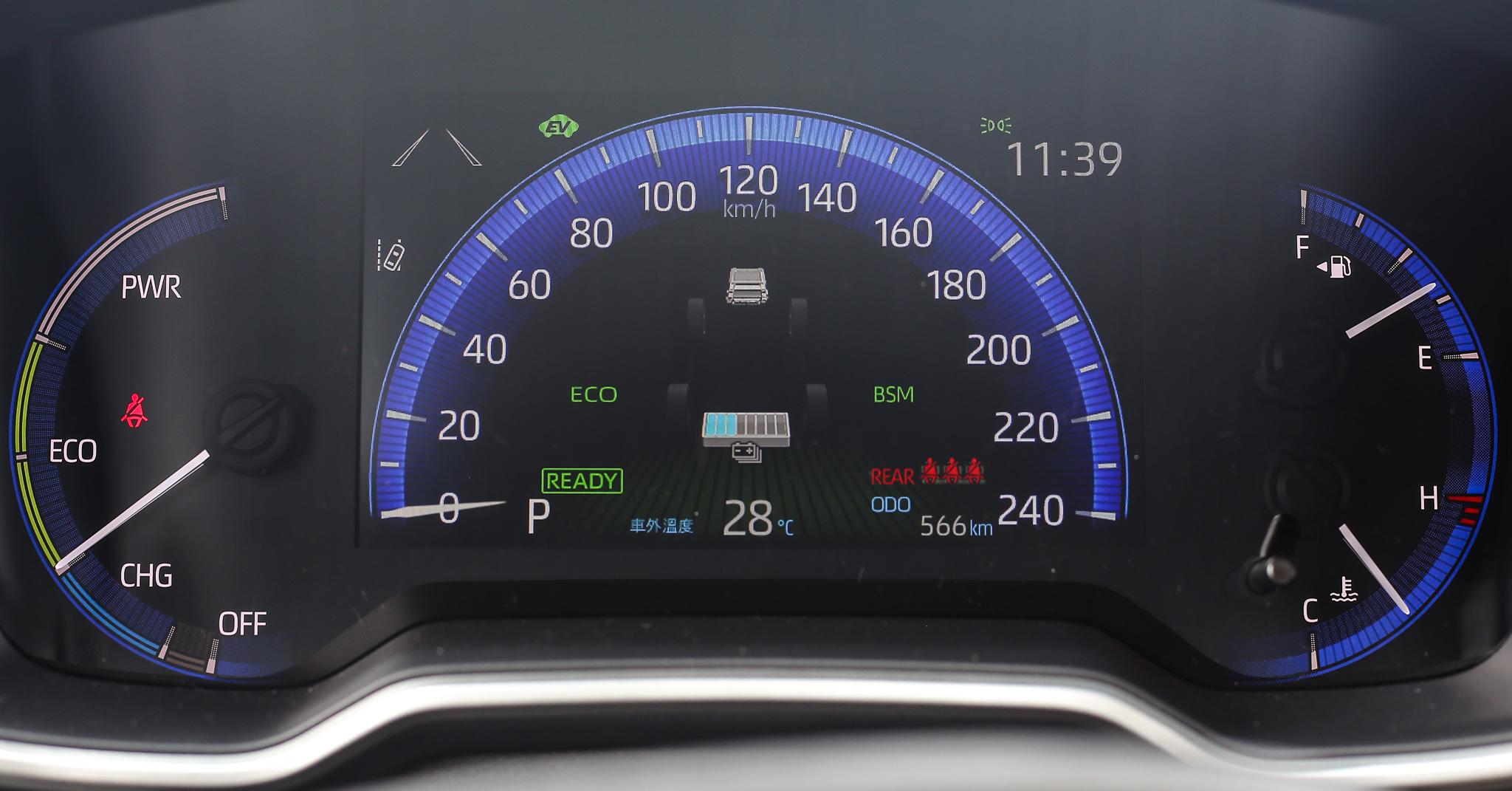 選擇駕駛模式時儀表板會同步顯示。