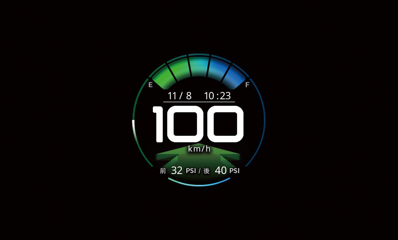 TFT 數位儀錶板含胎壓偵測器。