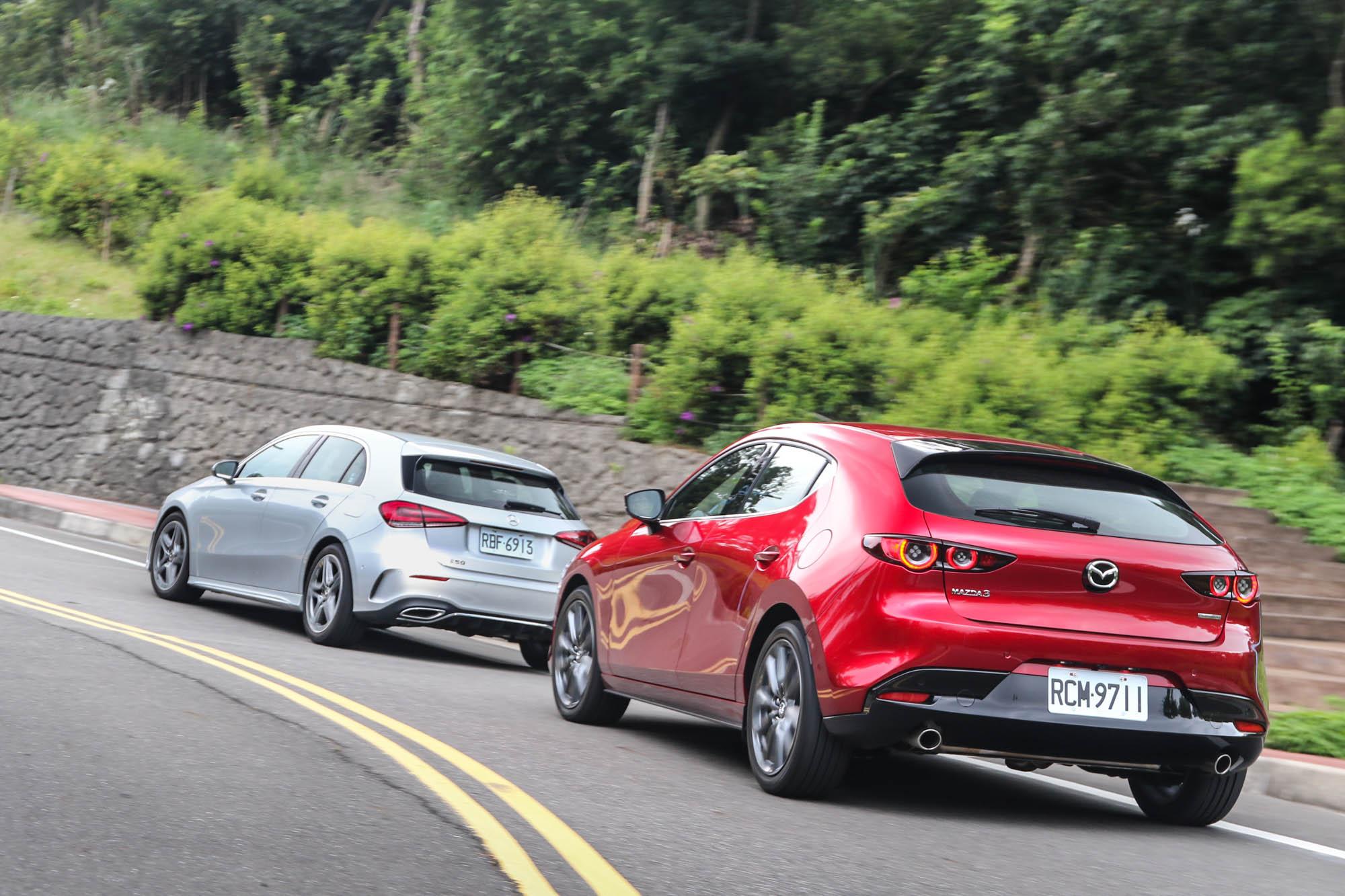 因為先天動力格局與輸出表現的差異,在加速表現上,五門 Mazda3 BOSE® 旗艦型確實略遜 A 250 運動版一籌。