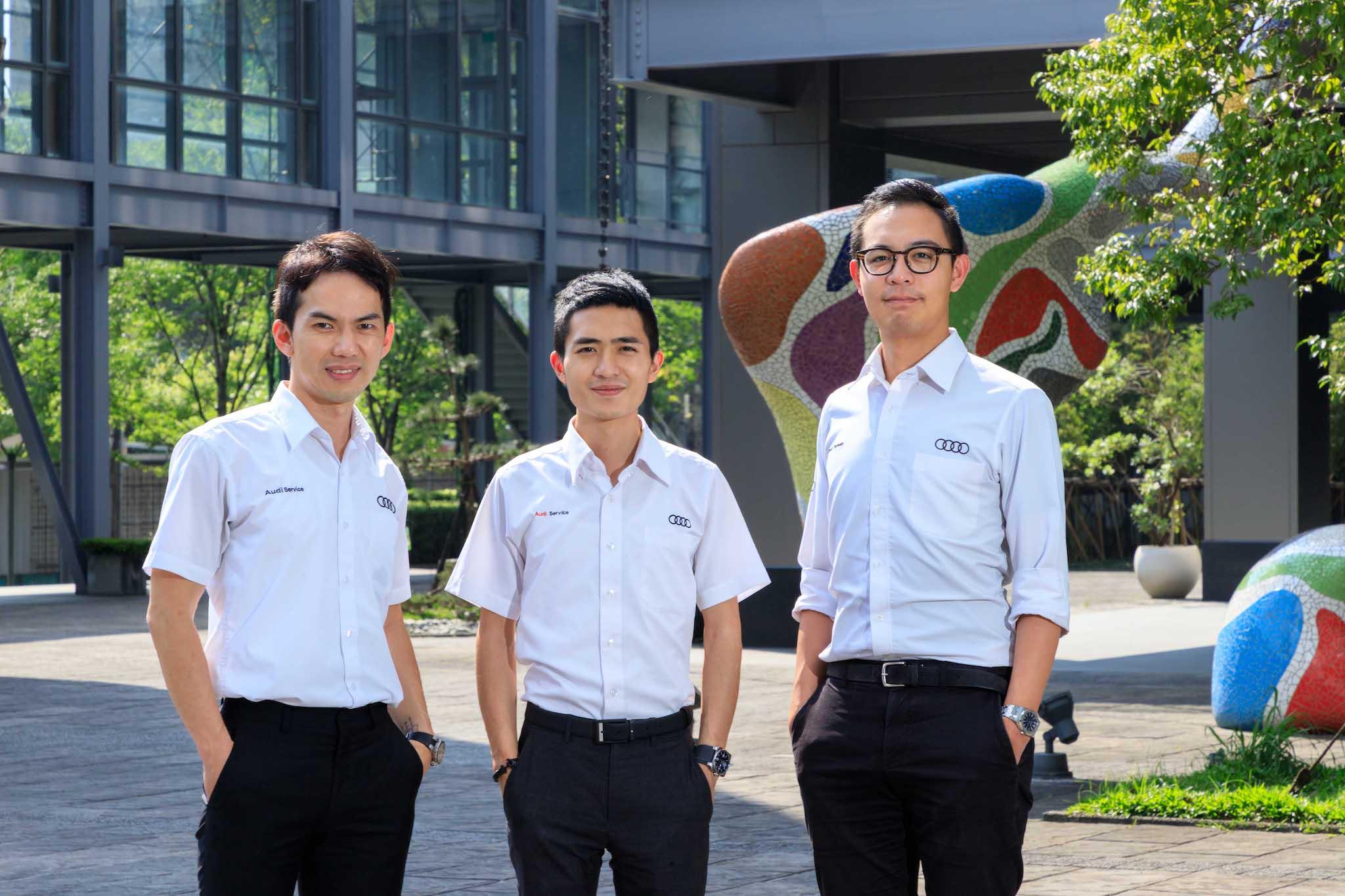 服務組選手,由左至右分別是:「Audi 內湖」陳承林、「Audi 南屯」王翔宇、「Audi 新莊」趙柏銘。
