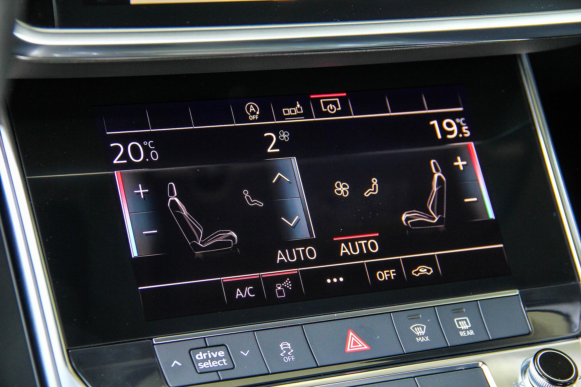 下方的螢幕預設主要負責空調系統的操作,也可自訂標籤,將常用功能移往下方。
