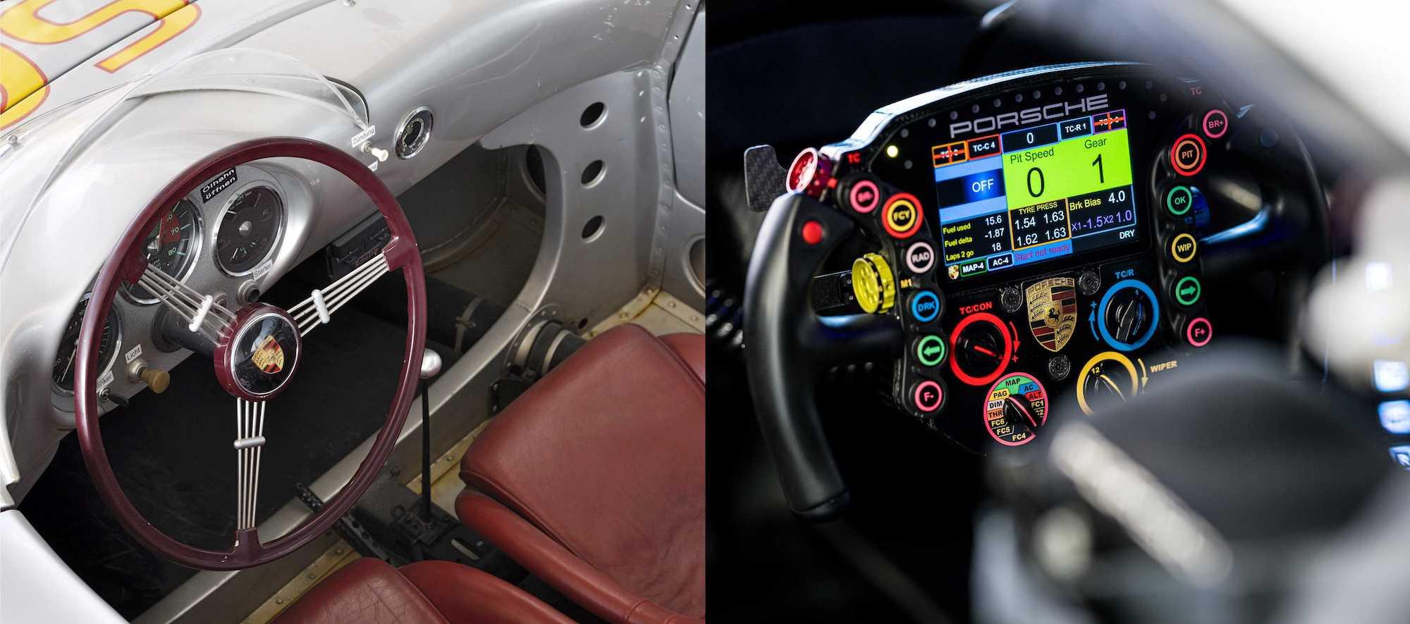 (左)1954年Porsche 550 Spyder方向盤與(右)2020年Porsche 911 RSR-19(l-r)方向盤。