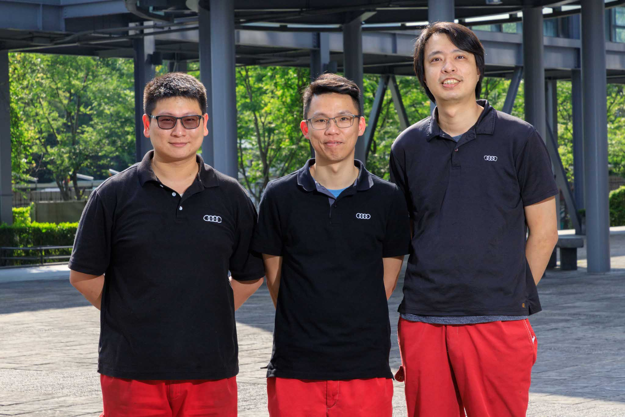 技術組選手,由左至右分別是:「Audi 南港」李承錦、「Audi 南港」李安逵、「Audi桃園」游順帆。