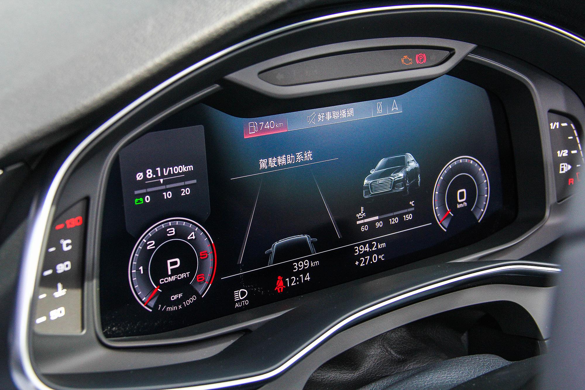 12.3 吋 Audi Virtual Cockpit 全數位虛擬駕駛艙的解析度再向上提升。
