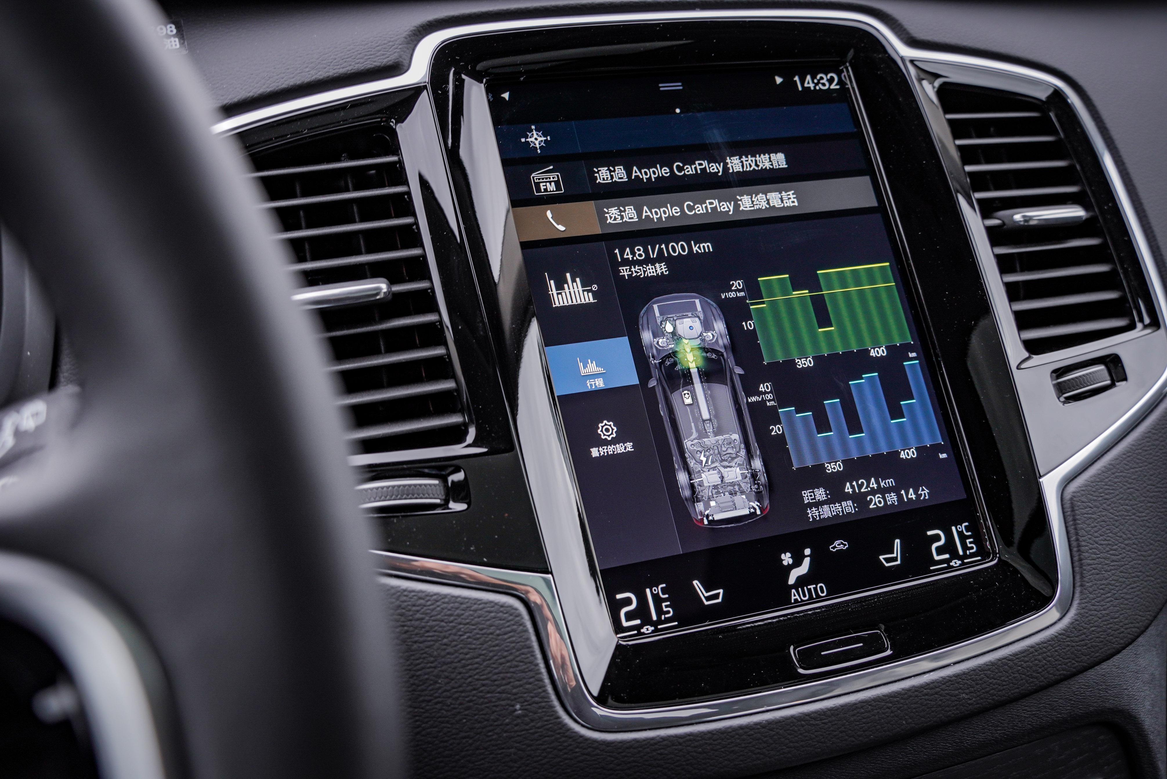 車輛提供詳細平均油耗及純電用電量數據。