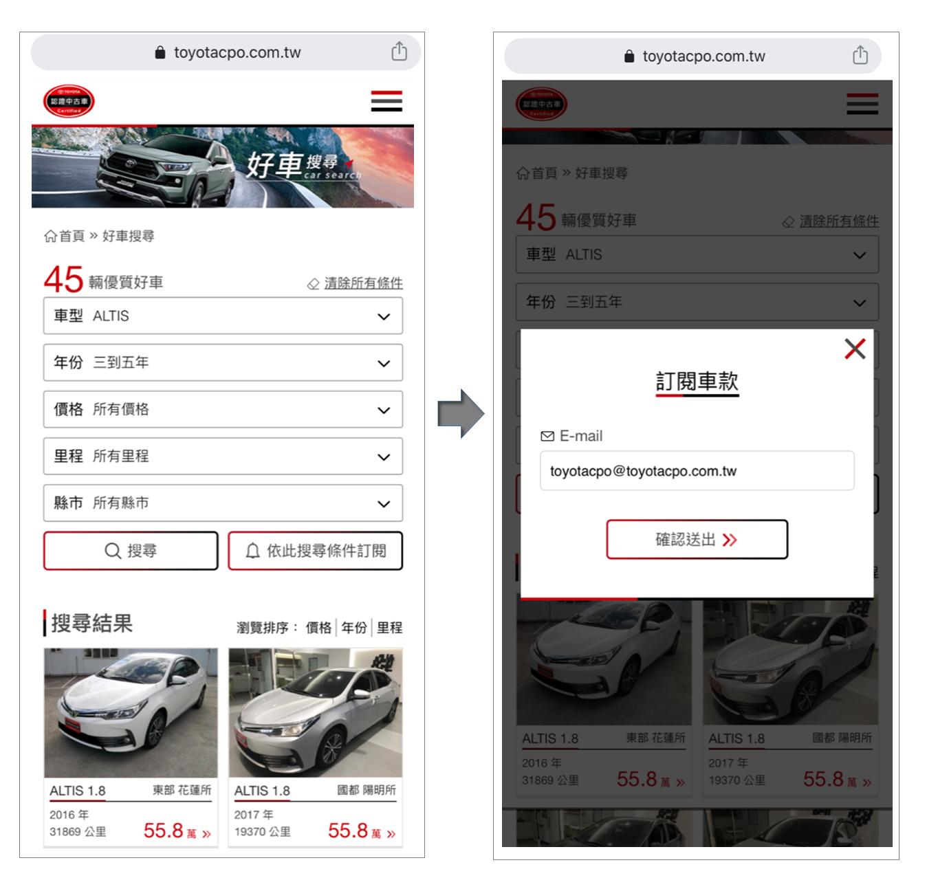 可設定搜尋條件,選擇喜愛車款,並可輸入E-MAIL進行搜尋條件訂閱。